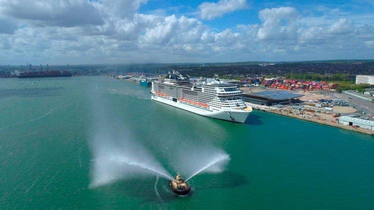 MSC Virtuosa arrives in Southampton, ready to restart cruising in UK