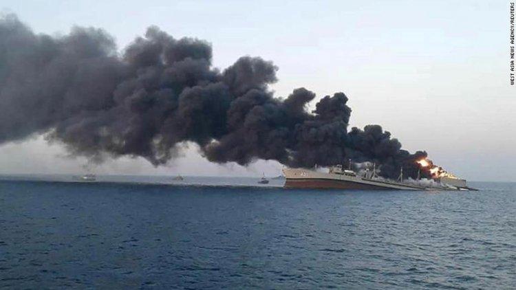 Iranian naval vessel sinks in Gulf of Oman after fire